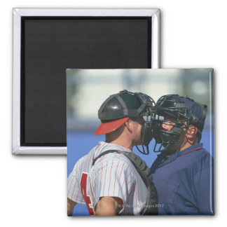 Baseball Catcher and Umpire Arguing Square Magnet
