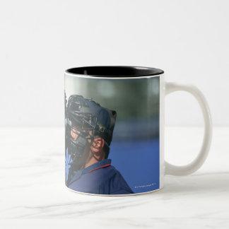 Baseball Catcher and Umpire Arguing Two-Tone Mug