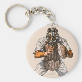 Baseball Catcher Basic Round Button Key Ring