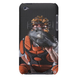 Baseball catcher holding ball in mitt barely there iPod case