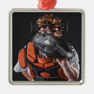 Baseball catcher holding ball in mitt Silver-Colored square decoration