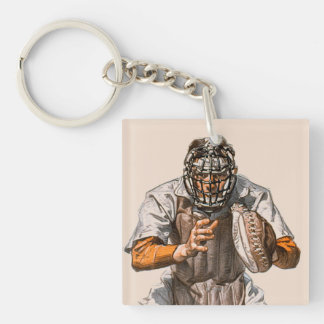 Baseball Catcher Key Ring