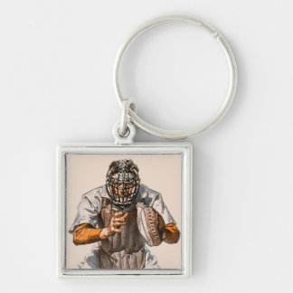 Baseball Catcher Silver-Colored Square Key Ring