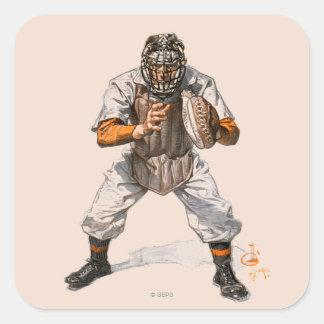 Baseball Catcher Square Sticker