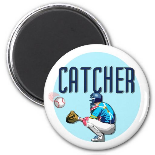 Baseball Catcher T-shirts and Gifts 6 Cm Round Magnet