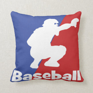 Baseball catcher throw pillow Red and Blue