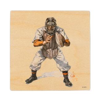 Baseball Catcher Wood Coaster