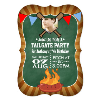 "Baseball Chalkboard Retro Tailgate Party 5"" X 7"" Invitation Card"