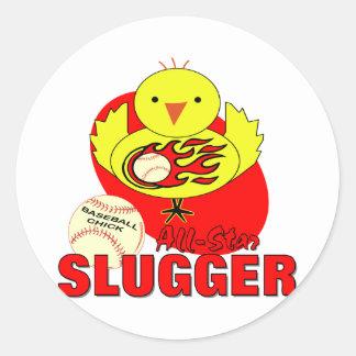Baseball Chick Round Sticker
