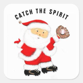baseball Christmas Square Sticker