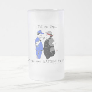 Baseball Coach and Umpire Face Off Frosted Glass Beer Mug