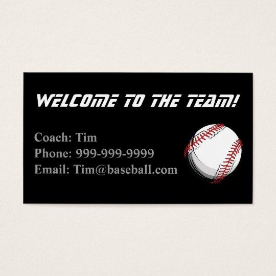 Baseball Coaches Contact card