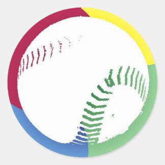 Baseball Color Quad Classic Round Sticker