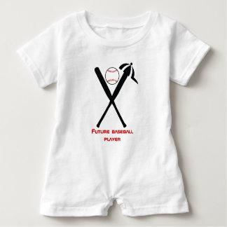 Baseball crossed bats and cap black, red custom baby bodysuit