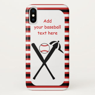 Baseball crossed bats and cap black, red stripes iPhone x case
