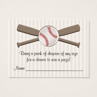 Baseball Crossed Bats Diaper Raffle Cards