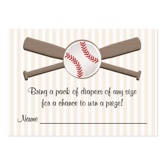 Baseball Crossed Bats Diaper Raffle Cards Pack Of Chubby Business Cards