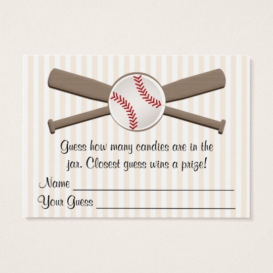 Baseball Crossed Bats Guessing Game Baby Shower Business Card