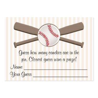 Baseball Crossed Bats Guessing Game Baby Shower Pack Of Chubby Business Cards
