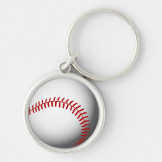 Baseball Custom Silver-Colored Round Key Ring