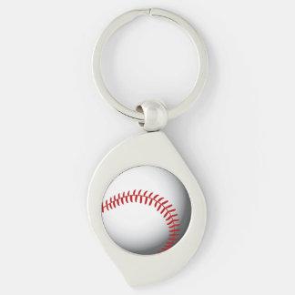 Baseball Custom Silver-Colored Swirl Key Ring