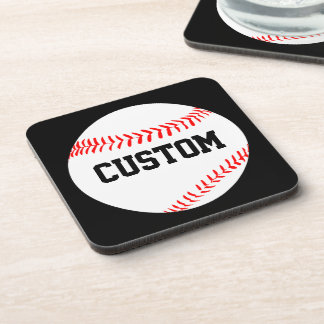 Baseball Custom Text Beverage Coasters