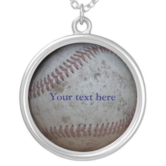 Baseball Customisable Silver Plated Necklace