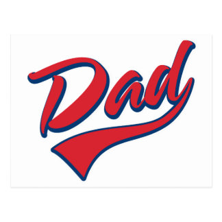Baseball Dad Red Postcard