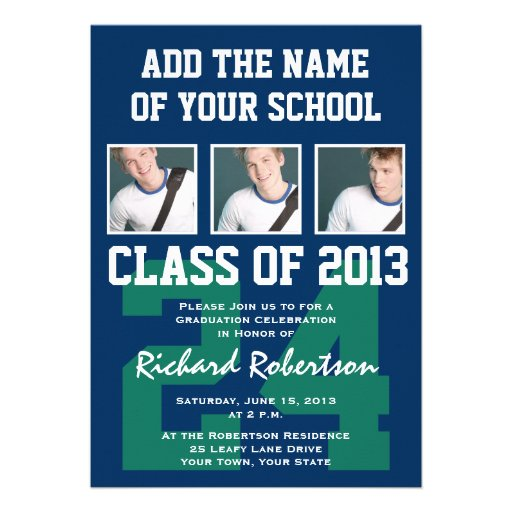 Baseball Dark Blue and Kelly Green Uniform Number Personalized Invitations