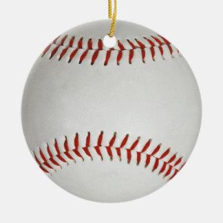 Baseball Double-Sided Ceramic Round Christmas Ornament