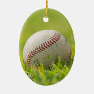Baseball Double-Sided Oval Ceramic Christmas Ornament