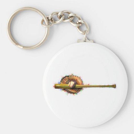 Baseball Design 1.png Basic Round Button Key Ring