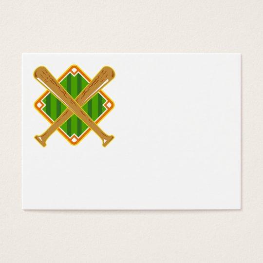 Baseball Diamond Crossed Bat Retro Business Card