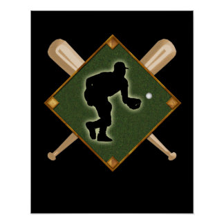 Baseball Diamond Fielding 1 Poster