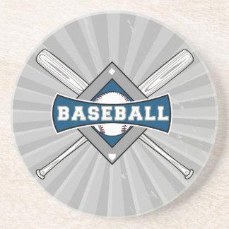 baseball diamond logo gray blue white coaster