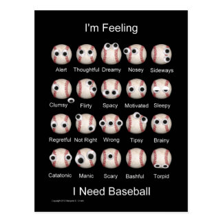 Baseball Emotions Postcard
