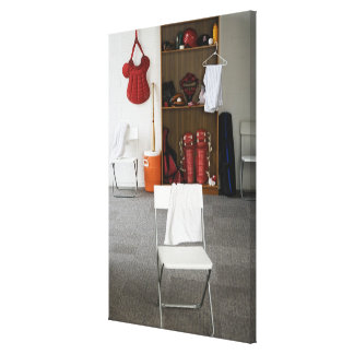 Baseball equipment in locker room canvas print