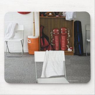 Baseball equipment in locker room mouse mat