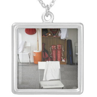 Baseball equipment in locker room silver plated necklace