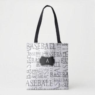 Baseball Fan Monogram Tote Bag