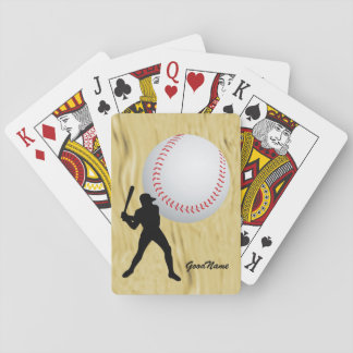 Baseball fan, personalise with name playing cards
