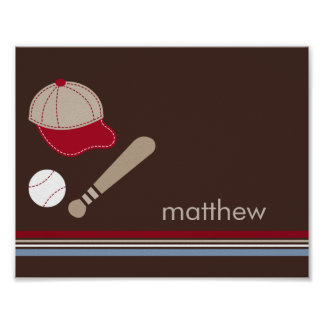 Baseball Fan Personalized Kid Wall Art Poster