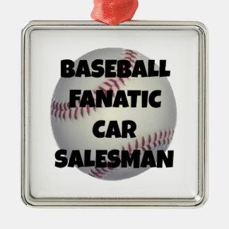 Baseball Fanatic Car Salesman Silver-Colored Square Decoration