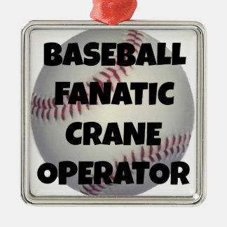 Baseball Fanatic Crane Operator Silver-Colored Square Decoration