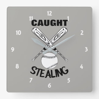 Baseball Fans Funny Humor Quote  Baseball Graphic Square Wall Clock