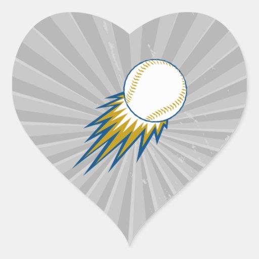 baseball fast ball spike heart sticker