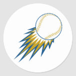 baseball fast ball spike round stickers
