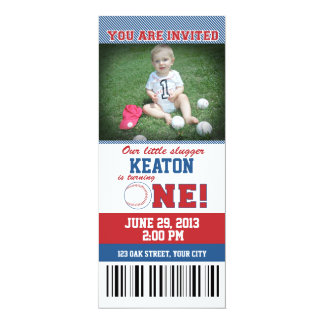 Baseball First Birthday 10 Cm X 24 Cm Invitation Card