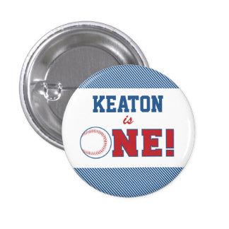 Baseball First Birthday Button