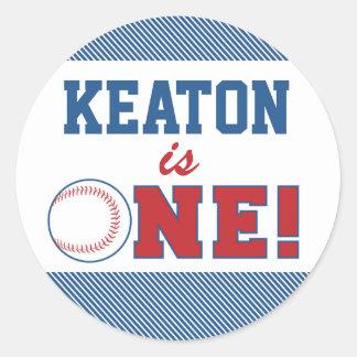 Baseball First Birthday Sticker